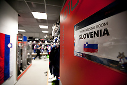 Slovenian team dressing room prior to the ice-hockey match between Slovenia and Latvia of IIHF 2011 World Championship Slovakia, on May 5, 2011 in Orange Arena, Bratislava, Slovakia.  (Photo By Vid Ponikvar / Sportida.com)