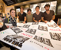 HMV welcomed The Coronas to HMV Galway  for a live performance and to sign copies of their nhighly anticipated third album Closer To You and met Donegal town girl Yvonne Casssidy living on Cross st Galway.who managed to get the HMV /Coronas giant poster signed for herself . Photo:Andrew Downes.