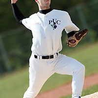 25 April 2010: Sacha Kachintzeff of the PUC pitches against Rouen during game 1/week 3 of the French Elite season won 12-4 by Rouen over the PUC, at the Pershing Stadium in Vincennes, near Paris, France.