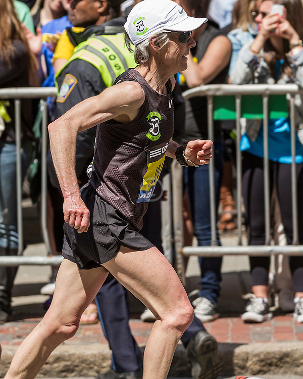 2014 Boston Marathon: turn onto Boylston Street with quarter mile to go, Joan Benoit Samuelson