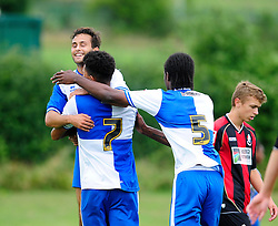 Carlos Gonzalez Barra celebrates with his team mate after scoring. - Photo mandatory by-line: Dougie Allward/JMP - Tel: Mobile: 07966 386802 17/08/2013 - SPORT - FOOTBALL - Bristol Rovers Training Ground - Friends Life Sports Ground - Bristol - Academy - Under 18s - Youth - Bristol Rovers U18s V Bournemouth U18s
