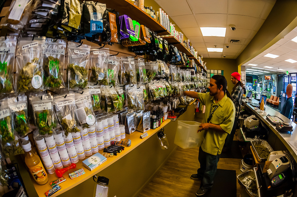 "Different strains of pot available at the retail ""recreational"" sales counter at Medicine Man Denver is the single largest legal medical and recreational marijuana dispensary in Denver, Colorado USA. Their 20,000 sq. ft. facility will soon double in size. Radio frequency ID tags and 65 video cameras allow the State of Colorado to track inventory through the growing process and all plant weight is accounted for. Medicine Man won the High Times' Cannabis Cup for best sativa (Jack Herer). 20-30 strains are available for sale daily."