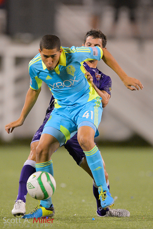 Seattle Sounders Satoshi Chaffin (41) in action during a USL Pro soccer game against the Orlando City Lions at the Citrus Bowl on Aug. 11, 2013 in Orlando, Florida. <br /> <br /> &copy;2013 Scott A. Miller