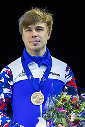 12-01-2019 NED: ISU European Short Track Championships 2019 day 2, Dordrecht<br /> Semen Elistratov of Russia pose in the Men's 1500m medal ceremony during the ISU European Short Track Speed Skating Championships