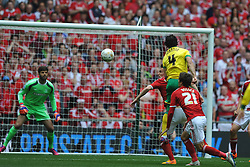 Norwich Bradley Johnson tries an early shot on goal, Middlesbrough v Norwich, Sky Bet Championship, Play Off Final, Wembley Stadium, Monday  25th May 2015