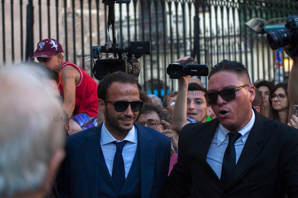 Il calciatore Giampaolo Pazzini lascia la Chiesa San Francesco di Paola dopo aver salutato alcuni tifosi.