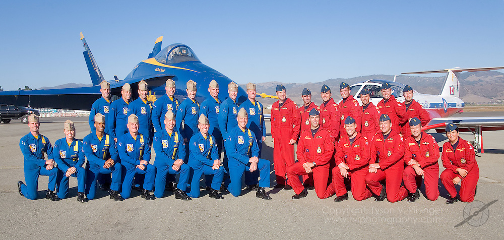 2007 USN Blue Angels Demonstration Team and the Canadian Forces Snowbirds at the California International Airshow, Salinas.