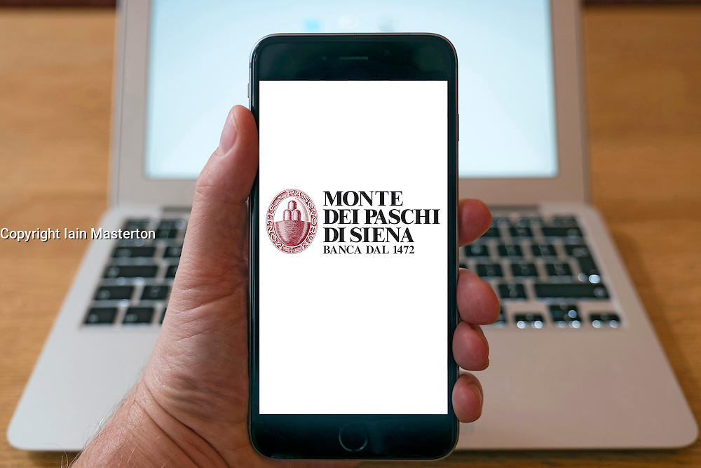 Using iPhone smart phone to display website logo of Monte dei Paschi di Siena bank