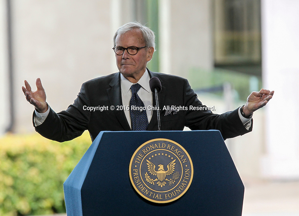 Tom Brokaw speaks during a funeral service for the former first lady Nancy Reagan at the Ronald Reagan Presidential Library and Museum in Simi Valley, California on March 11, 2016. Reagan died of congestive heart failure in her sleep at her Bel Air home Sunday at age 94. A bout 1,000 guests from the world of politics attended the final farewell to Nancy Reagan as the former first lady is eulogized and laid to rest next to her husband at his presidential library.<br />    (Photo by Ringo Chiu/PHOTOFORMULA.com)<br /> <br /> Usage Notes: This content is intended for editorial use only. For other uses, additional clearances may be required.