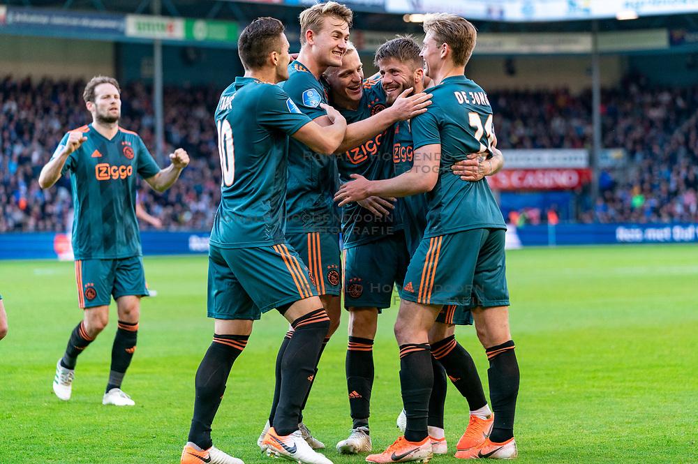 15-05-2019 NED: De Graafschap - Ajax, Doetinchem<br /> Round 34 / It wasn't really exciting anymore, but after the match against De Graafschap (1-4) it is official: Ajax is champion of the Netherlands / Lasse Schone #20 of Ajax score 1-0, Dusan Tadic #10 of Ajax, Matthijs de Ligt #4 of Ajax, Frenkie de Jong #21 of Ajax, Donny van de Beek #6 of Ajax