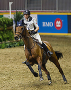 Kendal Lehari rides RF D'Orbalia  in the Horseware Indoor Eventing challenge at The Royal Horse Show, The pair were eliminated. TORONTO, CANADA.  November 4 2016