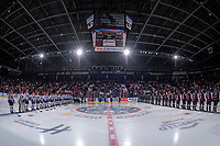 KELOWNA, BC - SEPTEMBER 21:  The Kelowna Rockets' line up against the Spokane Chiefs for the national anthem on the home opening game of the regular season at Prospera Place on September 21, 2019 in Kelowna, Canada. (Photo by Marissa Baecker/Shoot the Breeze)