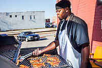 Images from a story about the St. Louis barbecue and cocktail scene. Included are the Capitalist Pig BBQ and Smoki O's.
