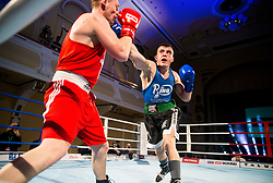 Gianluca Andronico of Italy (BLUE) fights against Denis Lazar of Slovenia (RED) in Elite 81 kg Category during Dejan Zavec Boxing Gala event in Ljubljana, on March 11, 2017 in Grand Hotel Union, Ljubljana, Slovenia. Photo by Vid Ponikvar / Sportida