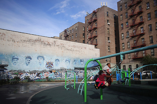Yankee Players Murals On A Playground Wall As Children Play In The Bronx  Near Yankee Stadium. Part 79