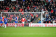 Goal! Sam Mantom of Walsall FC fires in an equaliser past Jussi Jääskeläinen of Wigan Athletic to make it 1-1 during the Sky Bet League 1 match between Walsall and Wigan Athletic at the Banks's Stadium, Walsall, England on 20 February 2016. Photo by Mike Sheridan.