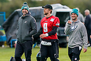 Philadelphia Eagles Nick Foles QB (9) at the end of the practice session during the press, training and media day for Philadephia Eagles at London Irish Training Ground, Hazelwood Centre, United Kingdom on 26 October 2018. Picture by Jason Brown.