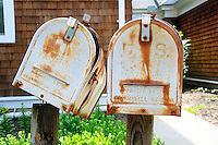 Old metal letter boxes.