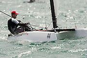 David brewer (AUS972) rounding the top mark in race five of the A Class World championships regatta being sailed at Takapuna in Auckland. 13/2/2014