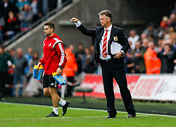 Manchester United Manager Louis van Gaal looks on after Swansea City win the match 2-1 - Mandatory byline: Rogan Thomson/JMP - 07966 386802 - 30/08/2015 - FOOTBALL - Liberty Stadium - Swansea, Wales - Swansea City v Manchester United - Barclays Premier League.
