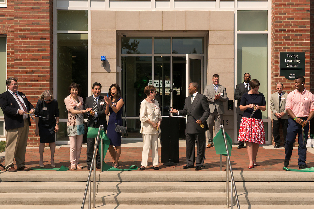 President McDavis, Vice President of Student Affairs Jenny Hall-Jones, and othered honored guests celebrate just after cutting the ribbon during the Ohio University Residential Housing Phase 1 opening ceremony event on Saturday, August 29, 2015 at the Living Learning Center on the Ohio University campus in Athens, Ohio.