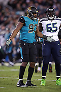 Jacksonville Jaguars defensive end Calais Campbell (93) complains about an official's call during the 2017 NFL week 14 regular season football game against the Seattle Seahawks, Sunday, Dec. 10, 2017 in Jacksonville, Fla. The Jaguars won the game 30-24. (©Paul Anthony Spinelli)