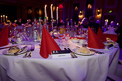 CARDIFF, WALES - Monday, October 5, 2015: A place set for Wales' Gareth Bale during the FAW Awards Dinner at Cardiff City Hall. (Pic by Ian Cook/Propaganda)