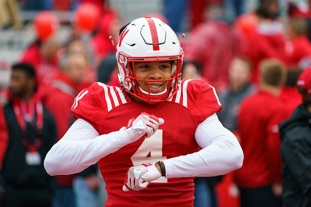 Jaevon McQuitty #4 dances on the field prior to Nebraska's annual Spring Game at Memorial Stadium in Lincoln, Neb., on April 21, 2018. © Aaron Babcock