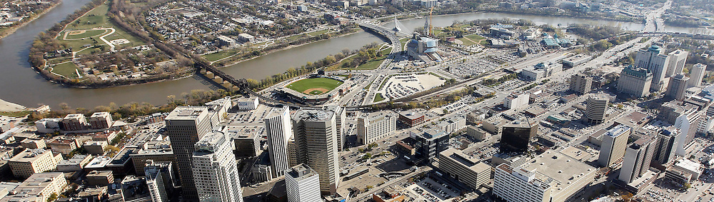 Aerial view of downtown WInnipeg, including Portage and Main, Shaw Park, Esplanade Riel, The Forks, The Canadian Museum for Human Rights, MTS Centre, October 21st, 2011. (TREVOR HAGAN/WINNIPEG FREE PRESS)