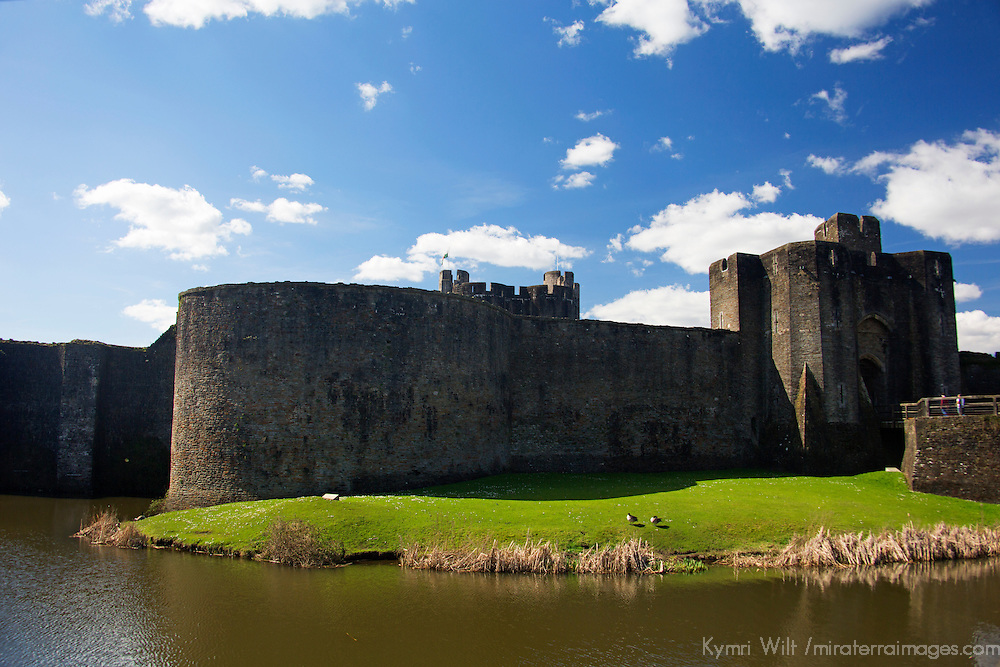 Europe, United Kingdom, Wales, Caerphilly. Caerphilly Castle moat, Wales.