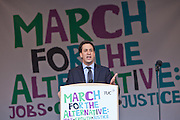 Ed Milliband Mp, leader of the Labour opposition speaking at the TUC March for the Alternative 26 March 2011, Hyde Park London.