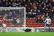 Samuel Sahin-Radlinger (1) of Barnsley FC fails to save the shot from Daniel Johnson (11) of Preston North End FC during the EFL Sky Bet Championship match between Barnsley and Preston North End at Oakwell, Barnsley, England on 21 January 2020.