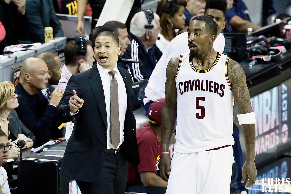 07 June 2017: Cleveland Cavaliers head coach Tyronn Lue is seen next to Cleveland Cavaliers guard JR Smith (5) during the Golden State Warriors 118-113 victory over the Cleveland Cavaliers, in game 3 of the 2017 NBA Finals, at  the Quicken Loans Arena, Cleveland, Ohio, USA.