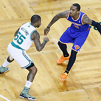 26 April 2013: Boston Celtics shooting guard Terrence Williams (55) defends on New York Knicks shooting guard J.R. Smith (8) during Game Three of the Eastern Conference Quarterfinals of the 2013 NBA Playoffs at the TD Garden, Boston, Massachusetts, USA.