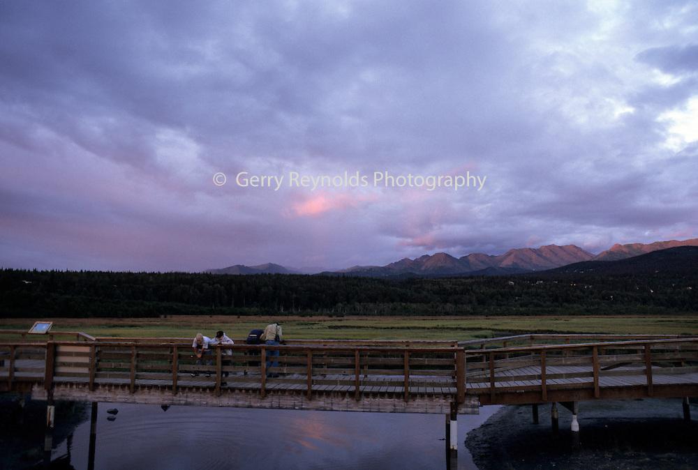 Sunset, Potter's Marsh, Boys on Boardwalk, Anchorage, Alaska