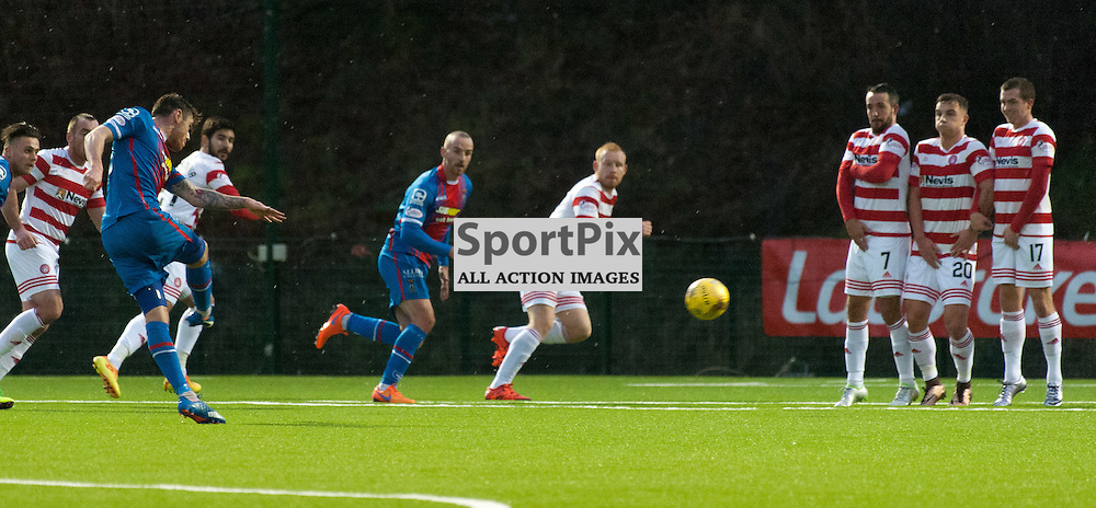 #16 Greg Tansey (Inverness Caledonian Thistle) fires in from a free kick for 0-1 • Hamilton Academical v Inverness Caledonian Thistle • SPFL Premiership • 30 December 2015 • © Russel Hutcheson | SportPix.org.uk