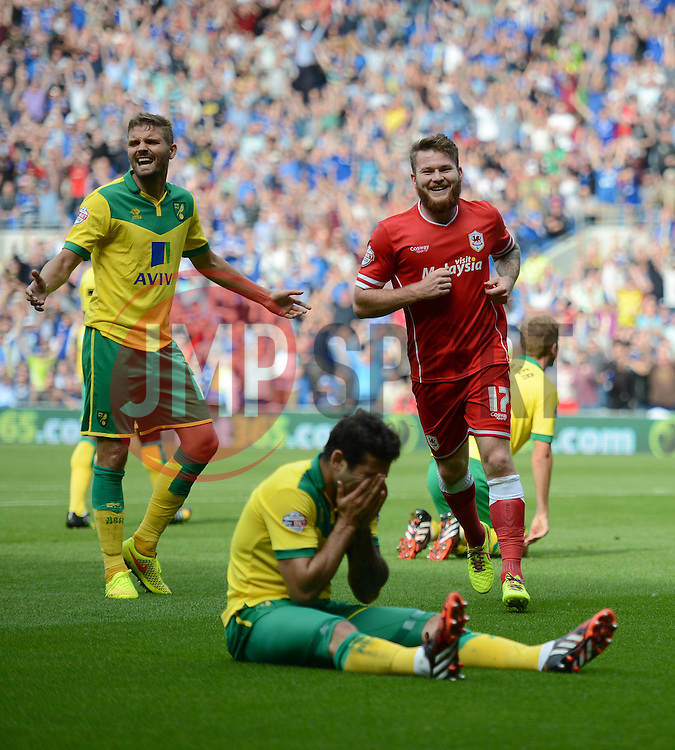 Cardiff City's Aron Gunnarsson celebrates while Norwich's Bradley Johnson has  his hands in his head.  - Photo mandatory by-line: Alex James/JMP - Mobile: 07966 386802 30/08/2014 - SPORT - FOOTBALL - Cardiff - Cardiff City stadium - Cardiff City  v Norwich City - Barclays Premier League