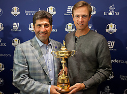 © Licensed to London News Pictures. 02/10/2012. LONDON, UK. European Ryder Cup Team captain José María Olazábal of Spain and team mate Nicolas Colsaerts of Belgium are seen with the Ryder Cup Trophy at a press conference at Heathrow Airport in London today (02/10/12) after winning the 39th Ryder Cup in Chicago, USA, on Sunday (30/09/12). Photo credit: Matt Cetti-Roberts/LNP