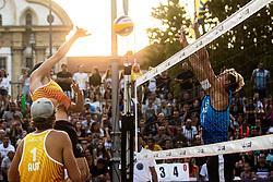 Mees Blom of Netherlands and Johannes Kratz of Austria at Beach Volleyball Challenge Ljubljana 2019, on August 4, 2019 in Kongresni trg, Ljubljana, Slovenia. Photo by Grega Valancic / Sportida