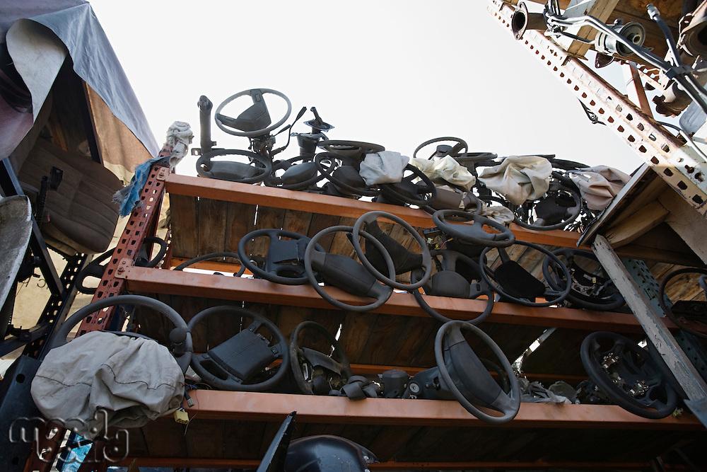 Car parts in junkyard