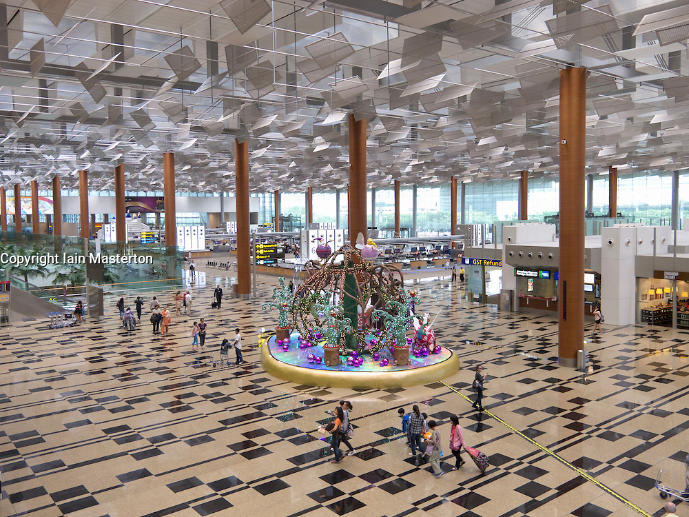 Interior of check-in hall at new Termainla 3 at Changi Airport in Singapore