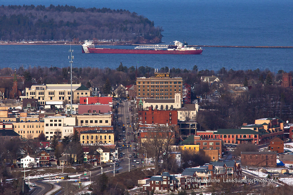 Freighter Arthur M. Anderson arriving at Marquette's Upper harbor, the view from Mount Marquette