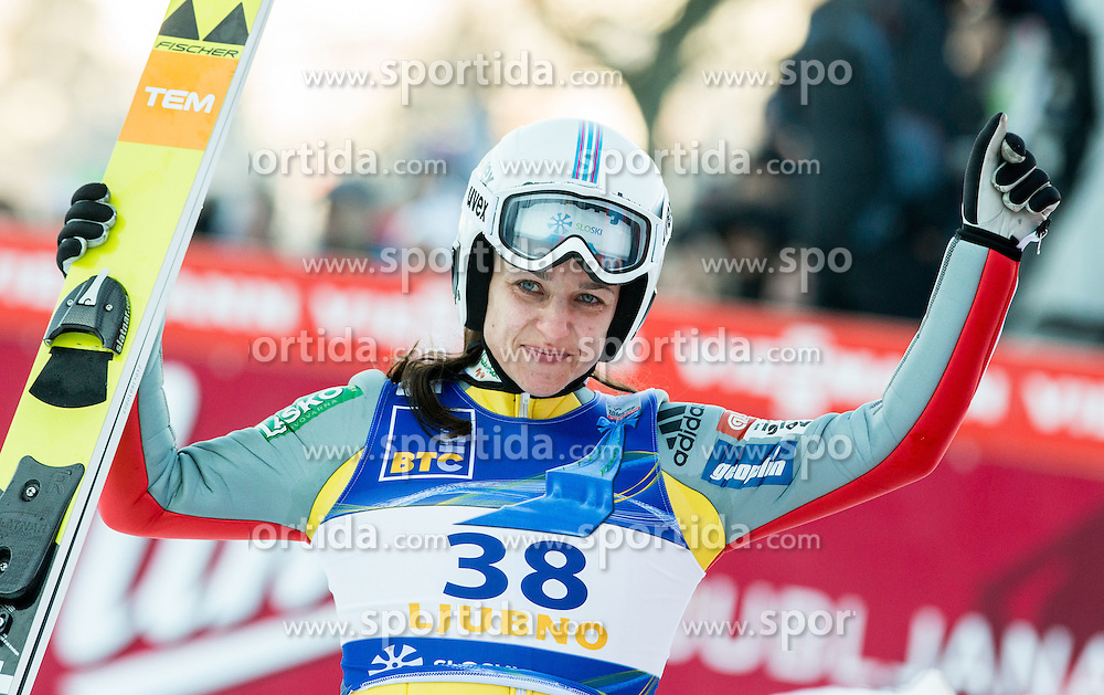 Maja Vtic (SLO) celebrates after winning during the 2nd  Round at Day 1 of World Cup Ski Jumping Ladies Ljubno 2016, on February 13, 2016 in Ljubno, Slovenia. Photo by Vid Ponikvar / Sportida