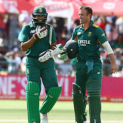 Cape Town, SOUTH AFRICA,  2016 - 14 February,  Hashim Amla with AB de Villiers (c) of South Africa during the 5th South Africa v England 1 Day match at PPC  Newlands Cape Town, South Africa. (Photo by Steve Haag)<br /> <br /> Images for social media must have consent from Steve Haag