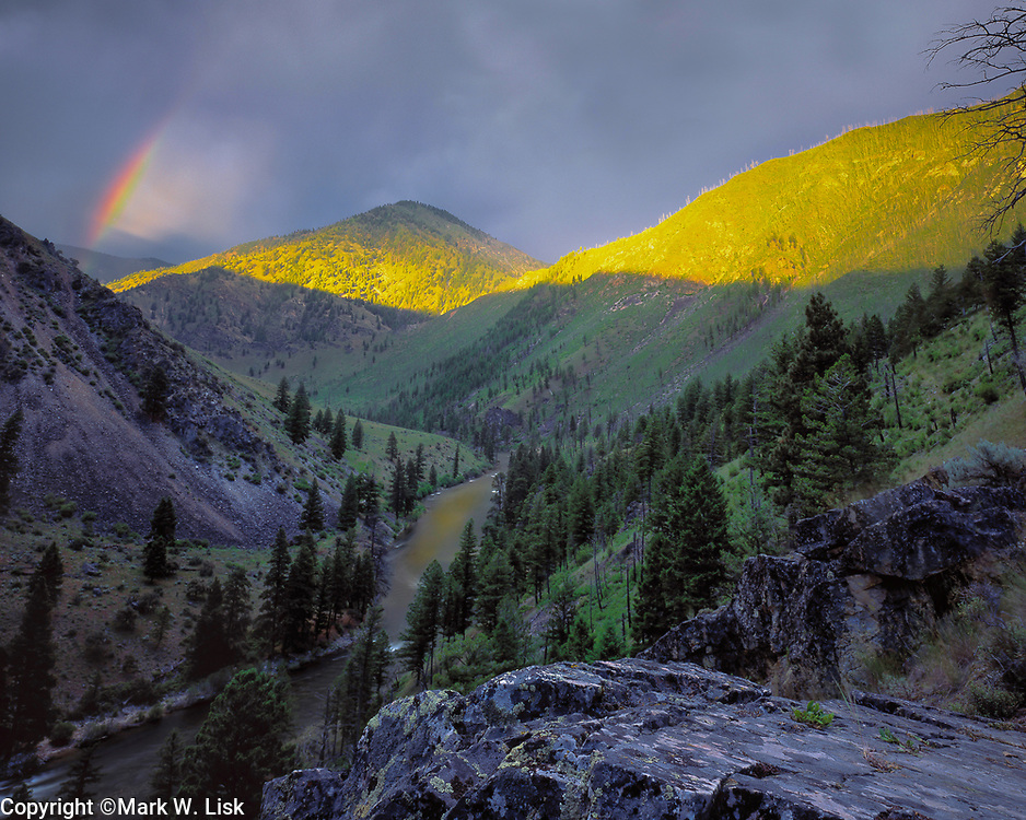 Rainbow over the Middle Fork of the Salmon above Jack Ass camp in the Frank Church Wilderness of central Idaho.