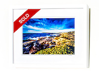 New Day, Maroubra &ndash; Ex exhibition work. One only available. 8x12&rdquo; signed print on Fujicolor Pearl metallic paper. Mounted on 2mm aluminium composite. White box frame with white mattboard, UV acrylic &amp; D-ring hangers. Outside frame dimensions 350 x 450 x 38mm. Clearance price $149 incl GST &amp; free delivery in Sydney metro area. Add $30 delivery elsewhere in Australia. <br />