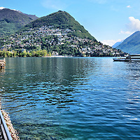 Beauty of Lake Lugano and Alpine Mountains in Lugano, Switzerland<br />