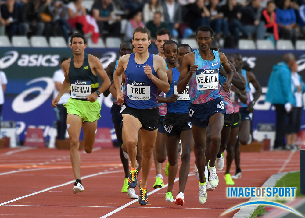 Jul 1, 2017; Paris, France; Ben True (USA) and Yomif Kejelcha (ETH) lead the 3,000m during the Meeting de Paris in an IAAF Diamond League meet at Stade Charlety. Kejelcha placed third in 7:33.37 and True was fifth in 7:35.53.