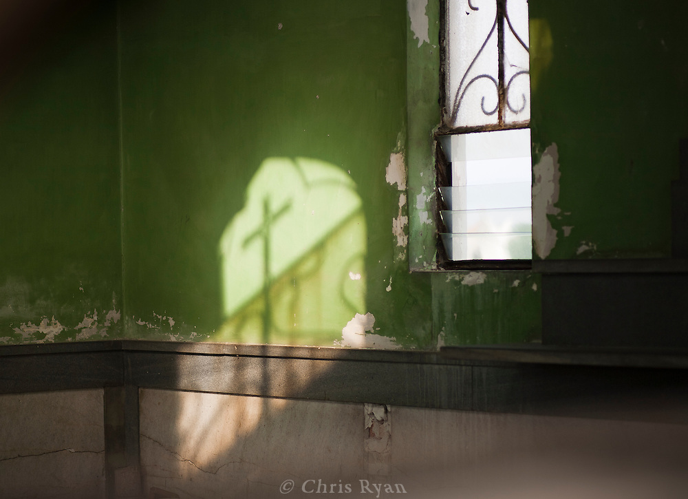 Cross shadow in crypt, Cementerio de Colon, Havana, Cuba