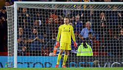 LIVERPOOL, ENGLAND - Wednesday, September 26, 2018: Liverpool's goalkeeper Simon Mignolet looks dejected after conceding the equalising goal during the Football League Cup 3rd Round match between Liverpool FC and Chelsea FC at Anfield. Chelsea won 2-1. (Pic by David Rawcliffe/Propaganda)